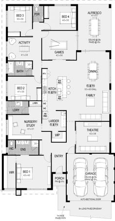 Container House - 4 bedrooms/ bathrooms/ game room/ activity room/ study/ theatre/ kitchen/ dining/ family/ laundry/ alfresco/ 2 car garage - Who Else Wants Simple Step-By-Step Plans To Design And Build A Container Home From Scratch? New House Plans, Dream House Plans, Modern House Plans, House Floor Plans, Bedroom House Plans, House Rooms, Bed Rooms, House Plans Australia, Storey Homes