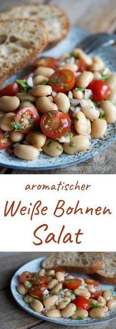 Aromatic white beans salad with tomatoes and mint- Aromatischer Weiße-Riesenbohnen-Salat mit Tomaten und Minze White giant beans tomato mint salad vegan - Slow Cooker Recipes, Beef Recipes, Salad Recipes, Vegan Recipes, Cooking Recipes, Mint Recipes, Grilling Recipes, Vegan Food, Five Bean Salad