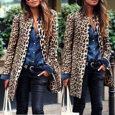 Women Fashion Leopard Sexy Winter Warm New Wind Coat Long Sleeve Cardigan Leopard Print Long Brown Coat 2018 chaqueta mujer Leopard Coat, Leopard Print Cardigan, Winter Jackets Women, Coats For Women, Long Cardigan, Long Sleeve Sweater, Sweater Jacket, Long Brown Coat, Mode Chic