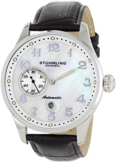 Stuhrling Original Men's 148A.BH.33152 Classic Lineage Grand Automatic Mother-Of-Pearl Date Watch Stuhrling Original. $126.00. Black genuine leather strap; stainless steel buckle clasp; Krysterna crystal with a flushed date magnifier. White mother-of-pearl dial; a seconds sub-dial at position 9. Water-resistant to 165 feet (50 M). Round silver-tone stainless steel case; large pumpkin-style crown. Silver Arabic numeral at all positions except at position 9; a date wi...