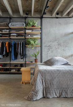 Industrial Bedroom Design, Industrial Apartment, Industrial House, Industrial Bedroom Furniture, Cheap Home Decor, Diy Home Decor, Diy Bett, New Room, Small Apartments