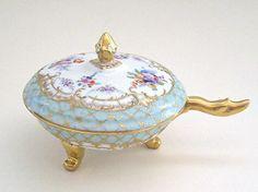 R Klemm Dresden Floral Painted Gold Encrusted Porcelain Round Footed Dish Lid | eBay