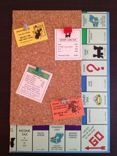 Monopoly Cork-Board Christmas Present I made for @Julia