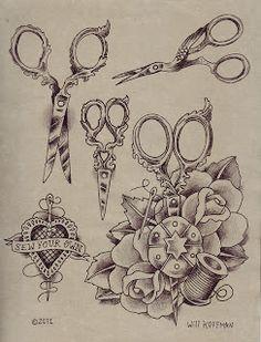 Will Koffman Tattoo: New Tattoo Design Flash Sheets, Crafty Scissors and Apocalypse tattoo designs