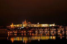 Prague Castle and part of Charles bridge by night in Prague, Czech Republic