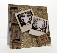"This is a fabulous card of sepia pinups from Greeting Farm and ""polaroids"" - no source but it's fantastic!"