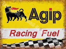 Agip Racing Fuel,134 Petrol Motor Oil Vintage Car Motorbike Small Metal/Tin Sign