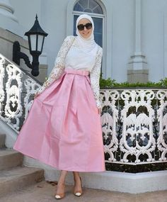 pink and white skirt outfit