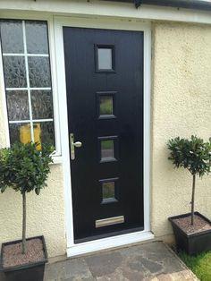 4 Square Glazed Composite Front Door in Black