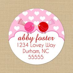 Love Birds  CUSTOM Address Labels or Stickers by PoshGirlBoutique