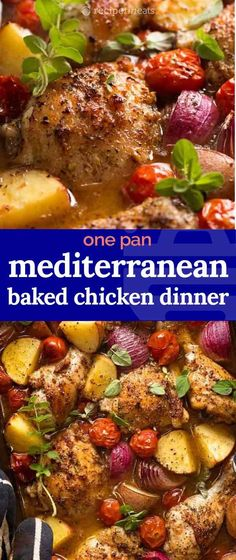 Mediterranean Baked Chicken Dinner - fast prep chicken dinner idea, you'll love how the potatoes and chicken sucks up the tasty Mediterranean sauce! Chicken Tray Bake Recipes, Chicken Thigh Recipes, Baby Food Recipes, Cooking Recipes, Healthy Recipes, Healthy Food, Easy Mediterranean Diet Recipes, Mediterranean Dishes, Mediterranean Chicken Bake