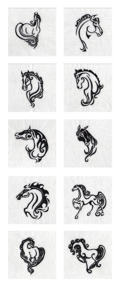 Elegant Wild Horses Embroidery Machine Design Details