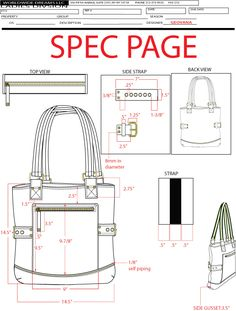 TECHNICAL SKETCHES - PAULA BONNAFANT goes to a whole page of drawings and measurements of bag ideas!