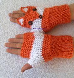Crochet fox gloves adult size fox mittens fox by KnitterPrincess Crochet Fox, Crochet Gifts, Crochet Animals, Fingerless Gloves Crochet Pattern, Fingerless Mittens, Fox Hat, Fox Embroidery, Fox Pattern, Embroidery Techniques