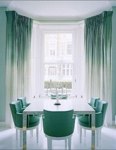 Home Design and Decor , Interior Bay Window Design Ideas : Bay Window Design With Double Hung Windows And Ombre Curtains Ombre Curtains, Green Curtains, Dip Dye Curtains, Ombre Walls, Silk Curtains, White Curtains, Shower Curtains, Drapery, Furniture