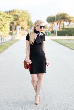 { Chic Details: Little black dress, Vintage silk scarf & Nude patent pumps }