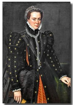 1552 Margaret, Duchess of Parma by Anthonis Mor.  Early Netherlandish Portraits 036 by Hans Ollermann ~1562, via Flickr