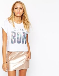 Enlarge ASOS Cropped T-Shirt with C'est Bon Holographic Print