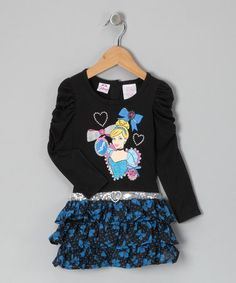 Take a look at this Black Cinderella Ruffle Dress - Toddler by Disney Girls on #zulily today!
