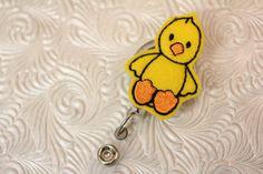 Easter chick - professional nursing badge holder - retractable  - felt  badge reel - name badge holder- badge pull - ID holder - nurse
