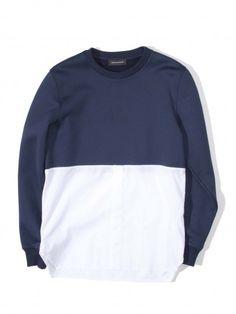 KRISVANASSHE_HYBRID_LS_SHIRT-5 Color Blocking, Colour Block, Junya Watanabe, Color Block Sweater, Style Inspiration, Sweatshirts, Sweaters, Jumpers, Fashion