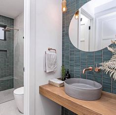 Our Kit Kat Mosaic in Moss Green creating a magnificent feature in this stunning @aspechomes project. #italiaceramics #inspiredliving #tiletrends #fingermosaics #fingertiles #featuretiles #bathroomtiles #powderroomtile #bathroominspiration Feature Tiles, Room Tiles, Bathroom Inspiration, Mosaic, Kit, Green, Furniture, Home Decor, Decoration Home