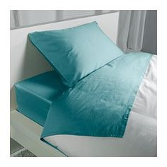 """IKEA - GÄSPA, Sheet set, Twin, , Sateen-woven bed linen in cotton is very soft and pleasant to sleep in, and has a pronounced luster that makes it look beautiful on your bed.The combed cotton gives the bed linen an extra smooth and even surface which feels soft against your skin.Fits mattresses with a thickness up to 13"""" since the fitted sheet has elastic edging."""