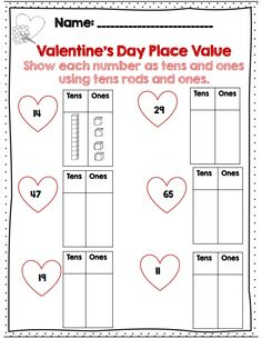 Valentine's day place value practice part of 50 pg common core aligned math packet for 2nd grade