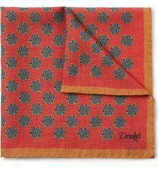 Drake's Floral-Print Wool and Silk-Blend Pocket Square
