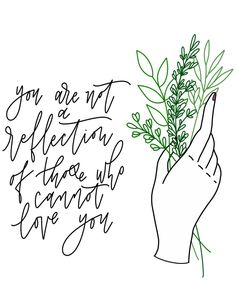 Traditional hand tattoo botanical line drawing floral foliage handlettering modern calligraphy self care reminder quote motivation