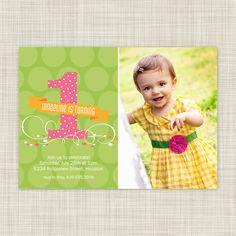 Kids Birthday Party Invitations - Childrens Party Invites - First Birthday Photo Card