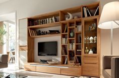 Furniture:Appealing Large Ceiling To Floor Entertainment Center With Bookshelves Small Lamp Modern Sofa Design Glass Window Interior Ideas Attractive Wooden Finish Wall Unit Combinations From Hülsta