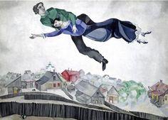 도시 위에서_마르크 샤갈 1914~1918  샤갈은 자신의 부인 벨라를 아주 사랑한 예술가로 잘 알려져 있다 남녀가 다정하게 서로를 껴안고 하늘을 날고 있는 이 작품을 통해서 나는 샤갈이 아내와 함께 행복하고 여유로운 가정생활을 하고자 하는 소망과 현재 아내와 누리는 기쁨을 표현하고자 했다고 느꼈다
