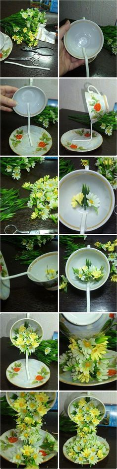 "Tea Cup Floral Cascade ~  step by step tutorial on how to create the illusion of flowers spilling into a saucer from a ""floating"" cup (and various suggested arrangements) at diy-enthusiasts"