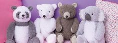 Pdf knitting pattern for 4 baby teddy bear toys by Angela Turner £2.50