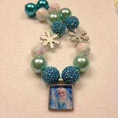 Disney's Frozen Chunky Children's Necklace, Queen Elsa Chunky Necklace, Bubblegum Necklace on Etsy, $18.00