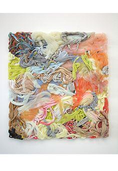 Matthias van Arkel /// Zweedse kunstenaar Matthias van Arkel's schilderijen bestaan uit vormen van siliconen rubber. Met dit materiaal maakt hij met kleur en vorm een compositie. Dit is een 3d schilderij die je wilt aanraken. Ik vind het een interessant materiaal en het is een schilderij waar je steeds meer in ontdekt.