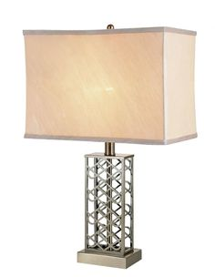 One Light Satin Nickel Table Lamp
