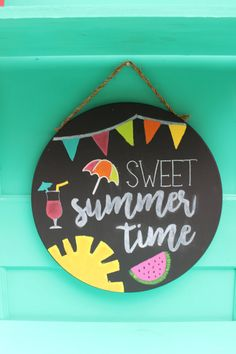 This super cute summertime chalkboard art will jazz up any summer party or bbq. A great gift for party hostesses too!
