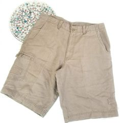 Roundtree & Yorke Mens Cargo Shorts Size 34 Beige Linen Blend Long Casual o1211 #RoundtreeYorke #Cargo