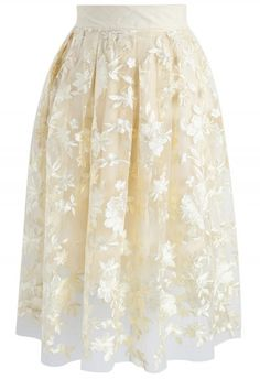 Sunlight Blossom Embroidered Mesh Skirt in Yellow