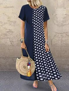 Cheap best O-NEWE Casual Polka Dot Patchwork Two Pieces Plus Size Maxi Dress on Newchic, there is always a plus size print dresse suits you! Plus Size Maxi Dresses, Casual Dresses, Short Sleeve Dresses, Summer Dresses, Long Sleeve, Plus Size Sommer, Themed Outfits, Look Fashion, Winter Fashion