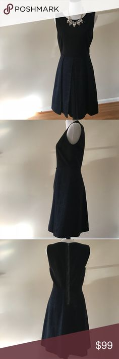 "Elie Tahari Fit & Flare Dress Black fitted top flows into navy bottom in this viscose rayon dress by Elie Tahari. Necklace not included (check out my closet for more like this!)  For reference, mannequin sizing = Bust: 34"", Waist: 26"", Hips: 35"" Elie Tahari Dresses Midi"