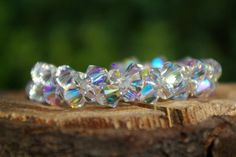 Swarovski AB Bracelet Statement Bracelet Bridal Crystal Bracelet Swarovski Clear AB Bracelet Bridesmaid Jewelry Rainbow Bracelet Crystal AB by AuroraCrystalPassion on Etsy