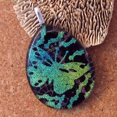 Dichroic Glass Butterfly Pendant Fused Glass by GlassMystique, $26.00