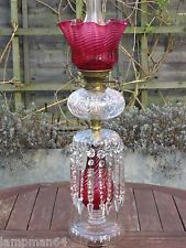 FABULOUS VICTORIAN ENGLISH STOURBRIDGE OIL LAMP