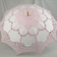 Ladies White And Pink Lacy Handmade Regency Victorian Parasol found on Polyvore by Janny Dangerous