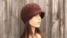 Slouch Hat Crochet Pattern, Chunky Crochet Hat, Crochet Hat With Brim, Knit Or Crochet, Crochet Patterns, Knit Hat For Men, Hats For Men, Women Hats, Baby Hats Knitting