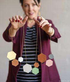 Shrink Film Geometric Necklace