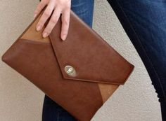 Vegan leather bag Clutch bag envelope faux leather by MyBagDesigns